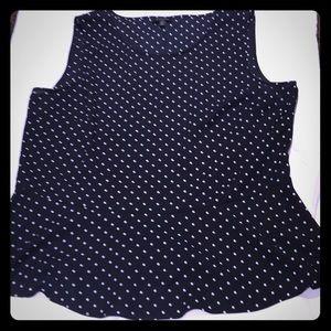Black and white polka dot peplum blouse